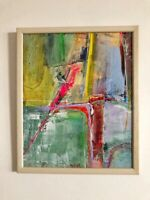 "Original Abstract Acrylic Painting Contemporary 10 x 12"" Framed Fine Art Signed"