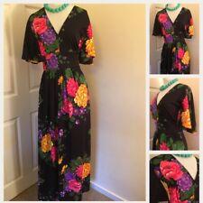 Original 70's Vintage Floral Wing Sleeved Maxi Dress