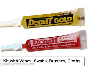 DeoxIT D and Gold 2mL Solutions Contact Cleaner Enhancer, Conditioner Kit, Wipes