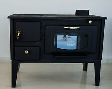 Woodburning Cooking Stove Oven with glass PROMETEY 7 kW cast iron top NAR TYPE
