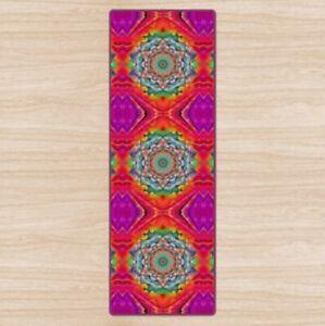 Neon Pink Mandala Padded Yoga Mat High Quality UK Design Non-Slip, Rubber Base