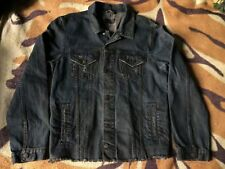 ASOS Mens Dark Petrol Blue Distressed Denim Jacket Vintage Trucker Rocker Grunge