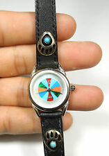 Multicolor Inlay & Silver Bear Paw Black Leather Ladies Wrist Watch