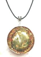 Necklet Orgone  pendant Riolite,Quartz,copper, EMF protection,positive energy.