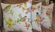 "Handmade Cushion Cover - Birds & floral with duck egg blue backs - 16"" x 16"""