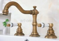 Antique Brass Bathroom Vanity Sink 3-Hole Two Handles Widespread Faucet aan072