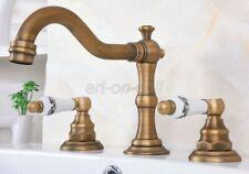 Antique Brass Bathroom Vanity Sink 3-Hole Two Handles Widespread Faucet aan072