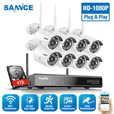 Sannce Full 1080P 8Ch Nvr Wireless 2Mp Ip Security Camera System Ir Email Alert