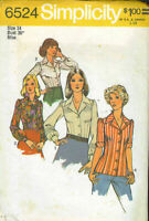 Simplicity sewing pattern 6524 button blouse top miss size 12 1974 uncut
