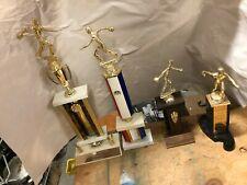 (4) vintage mens bowling trophies