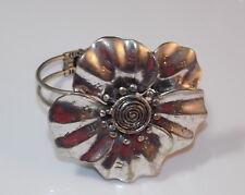 Chunky Silver tone Large Flower Clamper Bangle Bracelet Wrist Corsage 4b 59
