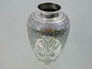 MAGNIFICENT ANTIQUE EASTERN SILVER SMALL VASE HAND ENGRAVED sterling ISLAMIC 19C