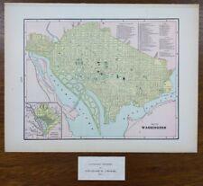 "Vintage 1901 Washington Dc Map 14""x11"" ~ Old Antique Original Arlington Bethesda"