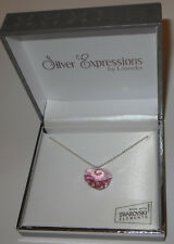 """Pink Heart Swarovski Necklace Crystal 18mm Silver Plated New in Gift Box 17"""""""