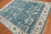 Old Hand Made Blue Art Nain Parsian Style Traditional Oriental Wool Area Rug
