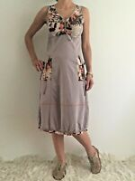 Women's V-Neck Sleeveless Taupe Boho Midi Evening Summer Smart Casual Dress