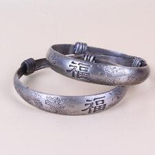 Chinese Antique Collection Tibet Silver Handmade Dragon Sculpture Bracelet