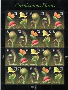Scott #3531a, MNH Miniature sheet of 20, Carnivorous Plants