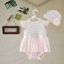 US 2pcs Girl infant Baby Newborn Cap Hat+Romper Bodysuit Tutu Clothes Set 12M