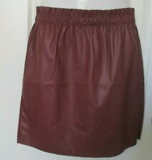 Vera Moda Faux leather Ruffle short Skirt Brown Size Large