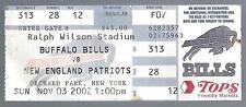 2002 NFL PATRIOTS @ BILLS FOOTBALL TICKET STUB - TOM BRADY TOUCHDOWNS #34,35,36