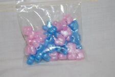 45 Butterfly Shape Beads Blue & Pink Pearl Acrylic Hair Craft Made USA Free Ship