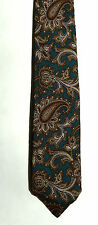 Men's New silk Neck Tie, Classic, Teal Brown paisley design by Ferrell Reed Ltd.