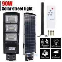 LED Solar Power Wall Street Light PIR Motion Outdoor Garden Lamp 90W+Remote+Pole