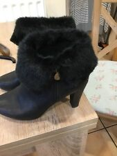 GEOX Ladies Ankle Boots Worn Once So Perfect Black Fur Tops Size 37