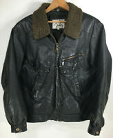 Vintage Mens Leather Bomber Jacket Sz L Distressed Black  Wool Look Collar