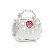Purse Pink Rhinestone October Birthstone Pocketbook Charm for European Bracelets