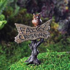 """Miniature Dollhouse Fairy Garden Owl Sign """"Fairy Crossing"""""""