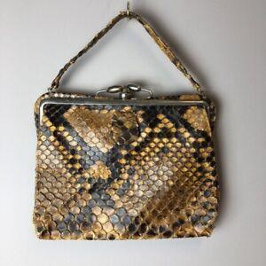 Retro Old Case Vintage Evening purse Vintage case.made in Spain Vintage 50s Original Genuine brown snakeskin Leather Bag Classy bag  B#132