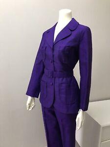 Original Vintage 60s Pant Suit Set Purple,Large Size ,Retro Jacket & Pants