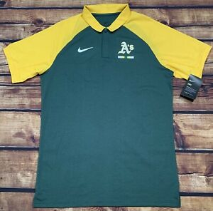 NWT'S Nike Dri-Fit Oakland A's MLB Polo Shirt Men's SZ M On Field Coaches Player