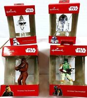 Hallmark Star Wars Ornaments Lot of 4 Chewbacca Stormtrooper R2-D2 Boba Fett NIB