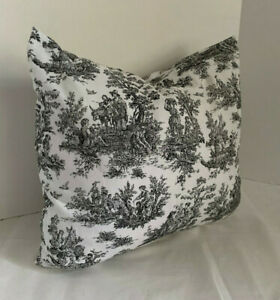 Pillow Cover Black White Small Toile Print Custom Made CHOOSE Size Many Sizes