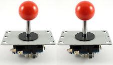 2 X Sanwa Estilo bola superior Arcade Palancas De Mando, 8 Way (rojo) - Mame, Jamma