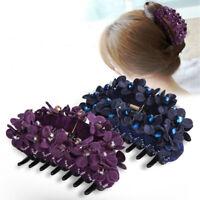 Women's Fabric Flower Hair Clips Claws Pins Crystal Hair Accessories Headpiece
