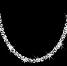 30 Ct Round Cut VVS1/D Diamond Tennis Necklace Solid 14K White Gold Over