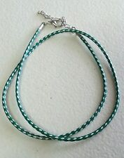 "GREEN/WHITE NECKLACE-KOREA WAX CORD 2MM-17.5"" LONG-ADJUSTABLE - CHOCKER - CHARMS"