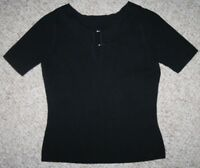 Unbranded Black Cotton Crewneck Tee T-Shirt Solid Medium Buckle Short Sleeve Top