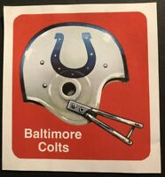 1970 BALTIMORE COLTS Football Sticker Decal ORIGINAL 1970's EXCELLENT Condition