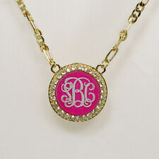 """PERSONALIZED MONOGRAM INITIAL NECKLACE  YELLOW GOLD PLATED1.25"""" USA seller"""