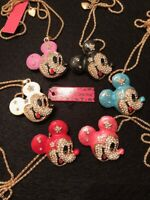 Betsey Johnson NWT Mickey Mouse Head Rhinestone & Alloy Necklace Asst Colors