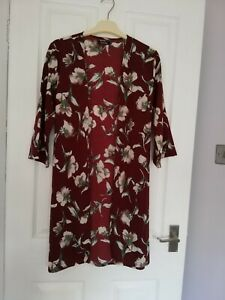 boo hoo kaftan/jacket style Cover Up size 12 burgundy floral Tall lon Only £1.50