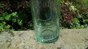 ANTIQUE   BACUP  HALF PINT BLOB TOP AQUA GLASS BEER  BOTTLE  RUNNING BROWN HARE