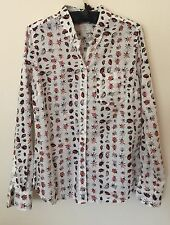 NWT Gap Women's The Shrunken Boyfriend Button Down Shirt *Ladybug* Print~Size S