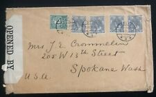 1916 Delft Netherlands Censored Cover To Spokane WA USA
