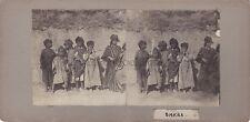 Biskra Algérie Stéréo Groupe d'enfants Vintage argentique ca 1900